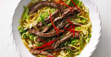 Korean Style Beef and Cabbage Noodles